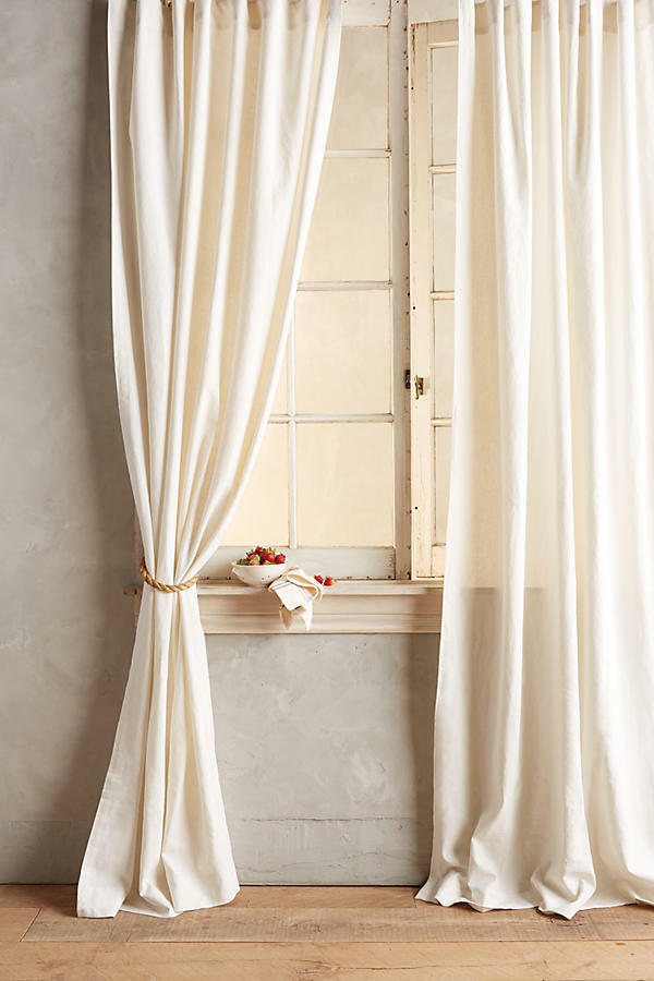 NEW ANTHROPOLOGIE IVORY LINEN TIE TOP CURTAIN WINDOW PANEL 50  X 108