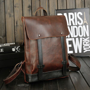 0491ae422c Image is loading Fashion-Vintage-Mens-Faux-Leather-Laptop-Backpack-Rucksack-