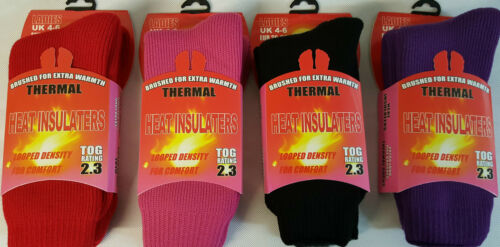 LADIES THERMAL SOCKS HEAT INSULATERS HEAVY BRUSHED TERRY 2.3 TOG 2 DESIGNS