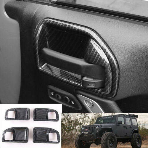 Interior door bowl cover trim for Jeep wrangler 2011-2017 carbon fiber black