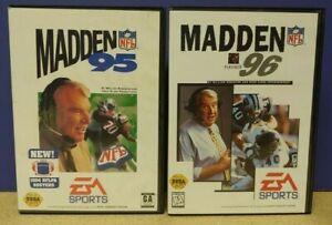 John Madden NFL Football 95 + 96 EA - Sega Genesis Working Tested - 2 Game Lot