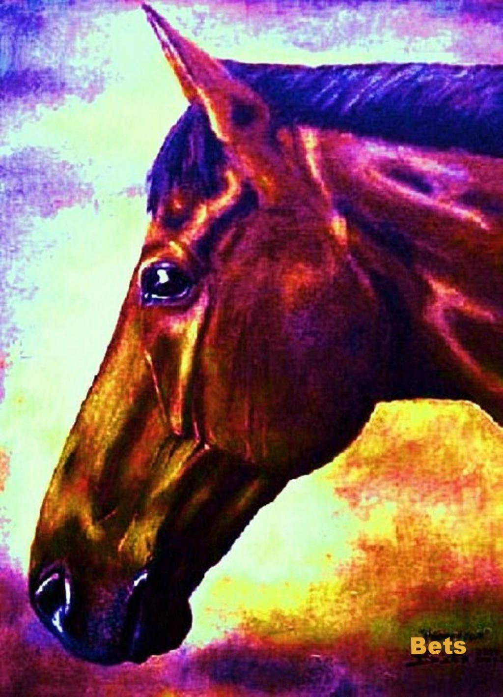 Giclee HORSE PRINT BAY Horse PRINCETON artist BETS 6 COLORS 18 print Größe 14 X 18 COLORS d7b6c8