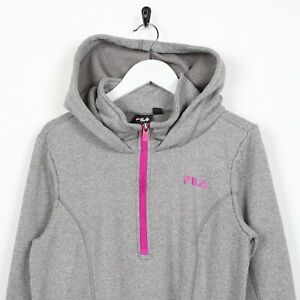Details about Vintage Women's FILA Small Logo 14 Zip Hoodie Sweatshirt Grey Medium M