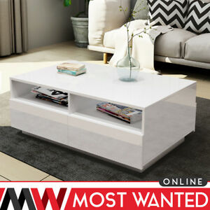 Image Is Loading Multifunction Coffee Table Storage High Gloss 4 Drawers