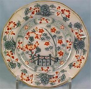 Indian-Bridge-Transferware-Salad-Plate-Samuel-Alcock-Colorful-Antique