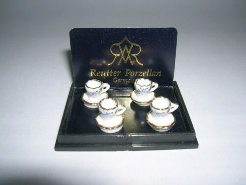 Reutter porcelana teeset goldzwiebel//Tea Set oro Blue Onion muñecas Tube 1:12