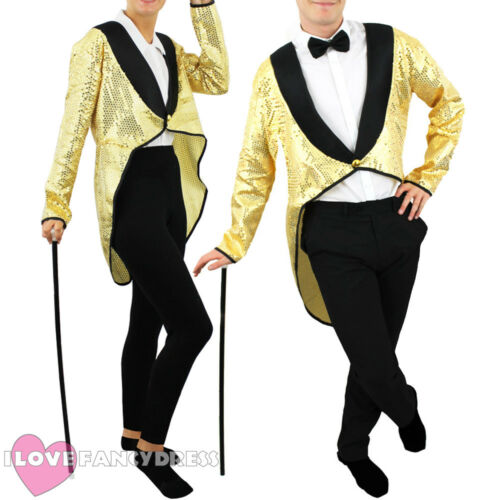 GOLD SEQUIN TAILCOAT UNISEX CABARET FANCY DRESS CIRCUS RINGMASTER DANCE COSTUME