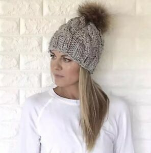 ef080005620 Hand knit Cable Slouchy Hat With 100% real raccoon Fur Pom Pom YOU ...