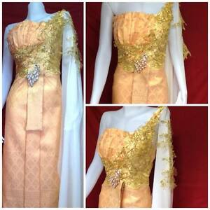 Royal thai wedding dress siam gold bridal traditional design costume