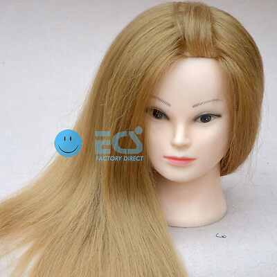 "25"" Cosmetology Salon Real Human Blonde Hair Training Head Mannequin + Clamp !!!"