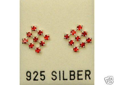 Genial Neu 925 Silber Ohrstecker Mit Swarovski Steine Light Siam/rot Ohrringe