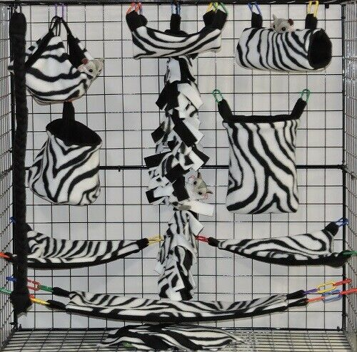 White Zebra 15 PC Sugar Glider Cage set  Rat  double layer Fleece
