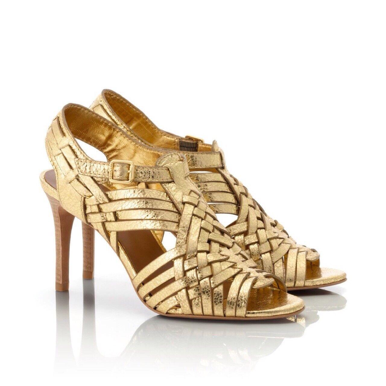 Miglior prezzo Tory Burch Nadia Metallic oro oro oro Leather High Heel Sandals, Dimensione 6.5  presa
