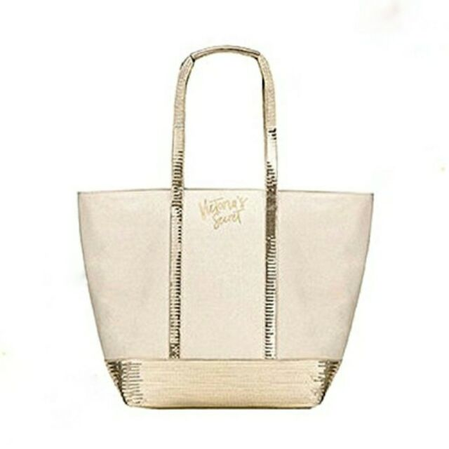 Nwt Victoria S Secret Cream Gold Canvas Sequin Tote Weekender Purse Pool Bag New