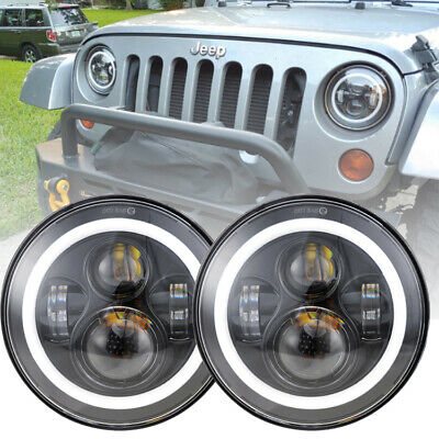 7inch Round 40W Cree LED Hi//Lo Beam Headlight DRL For Jeep Wrangler TJ JK