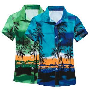 Summer-Casual-Mens-Short-Sleeve-Shirt-Men-039-s-Beach-Hawaii-Shirts-Floral-Te-Sale