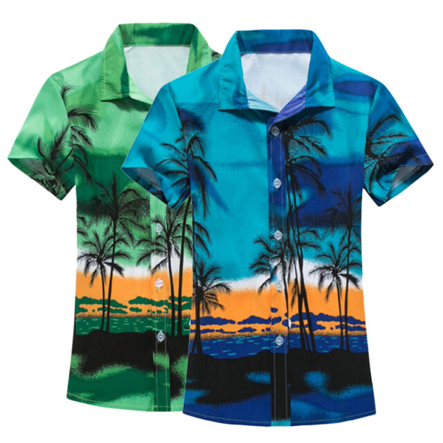 Summer Casual Mens Short Sleeve Shirt Men's Beach Hawaii Shirts Floral Te Gift