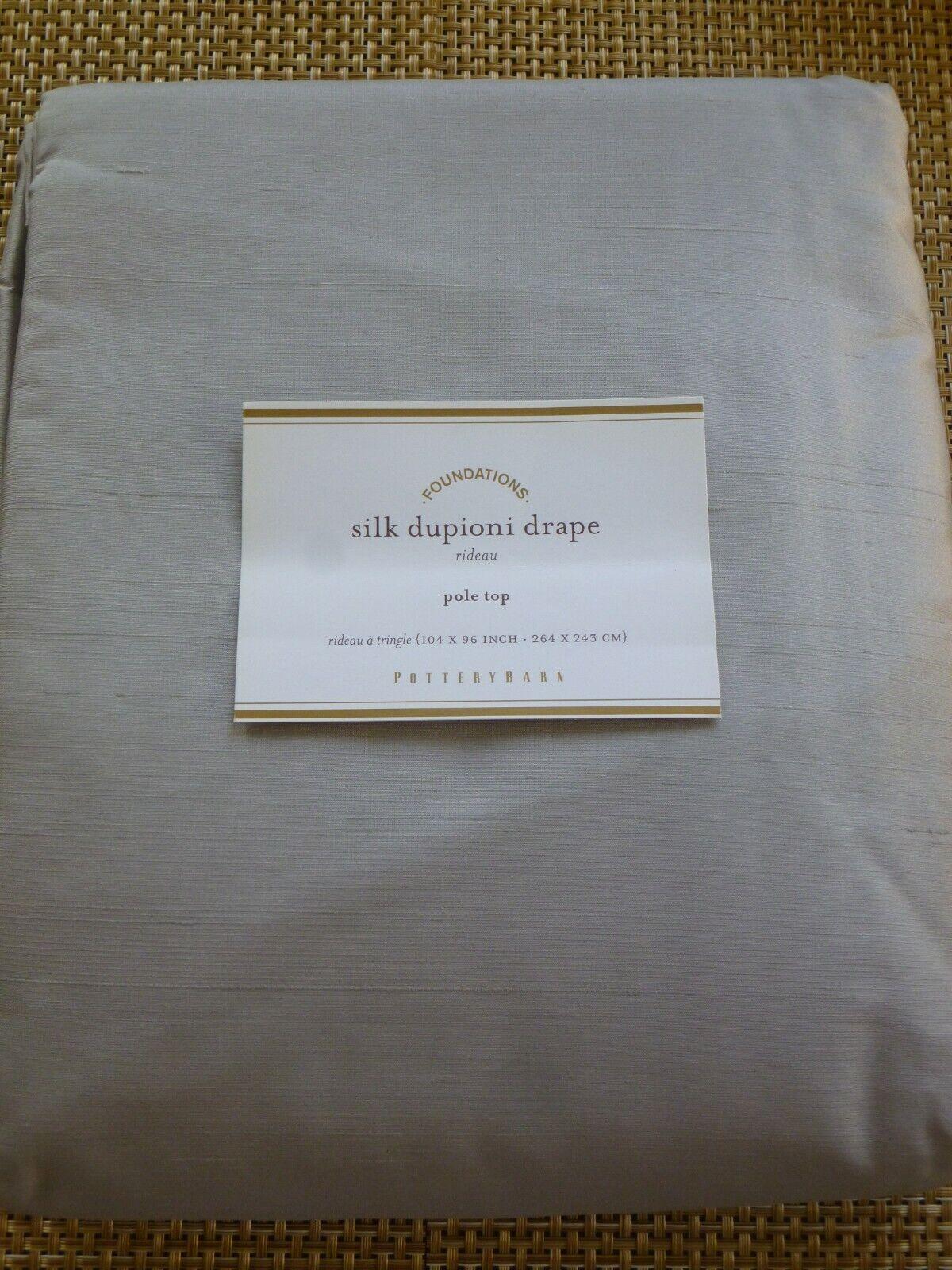 Nuevo en paquete POTTERY BARN Seda Dupioni Platino gris Cortina Ventana Panel 104  W X 96  L