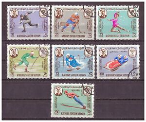 Aden-Kathiri-State-of-Seiyun-Olympische-Winterspiele-MiNr-134-140-1967-used