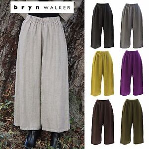 BRYN-WALKER-Heavy-Linen-FLOOD-PANT-Wide-Crop-Pocket-Pants-1X-2X-3X-FALL-2017