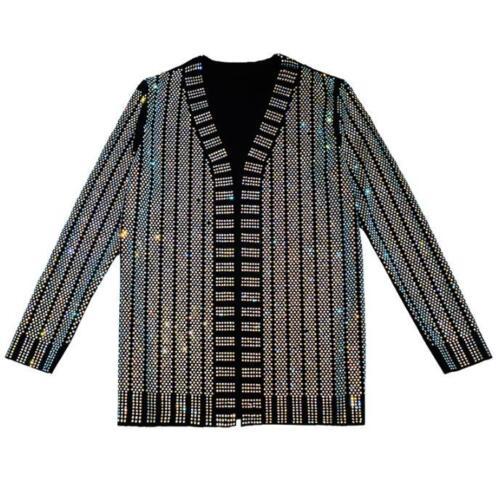cappotto Moda strass manica lunga cardigan nero discoteca stile Blazer donna qSq4U