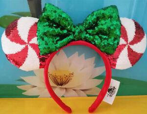 New-Disney-Parks-Candy-Cane-Cutie-Sequin-Minnie-Christmas-Headband-Girls-Ears