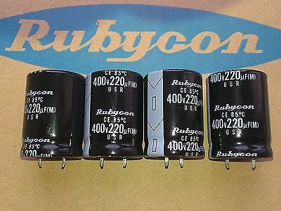 [4 pcs] Rubycon series USR 220uF 400V snap in capacitors 25x35mm  made in Japan