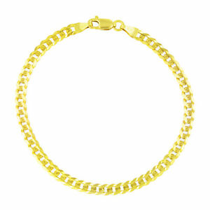 Genuine-14K-Pure-Yellow-Gold-3-5mm-Womens-7in-Cuban-Curb-Link-Chain-Bracelet-7-034
