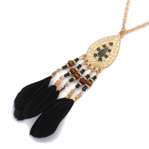 Women Vintage Blue Feather Moon Tassels Pendant Chain Long Lovely Necklace New