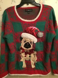 Sequin Pug Dog Ugly Christmas Sweater Ugly Tacky Xmas sweater size XL  1618  womens sweater  lights up