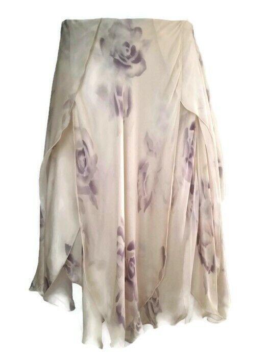 Ralph Lauren Purple Label Womens Flare Floral A-line Slit Skirt Size XS 2
