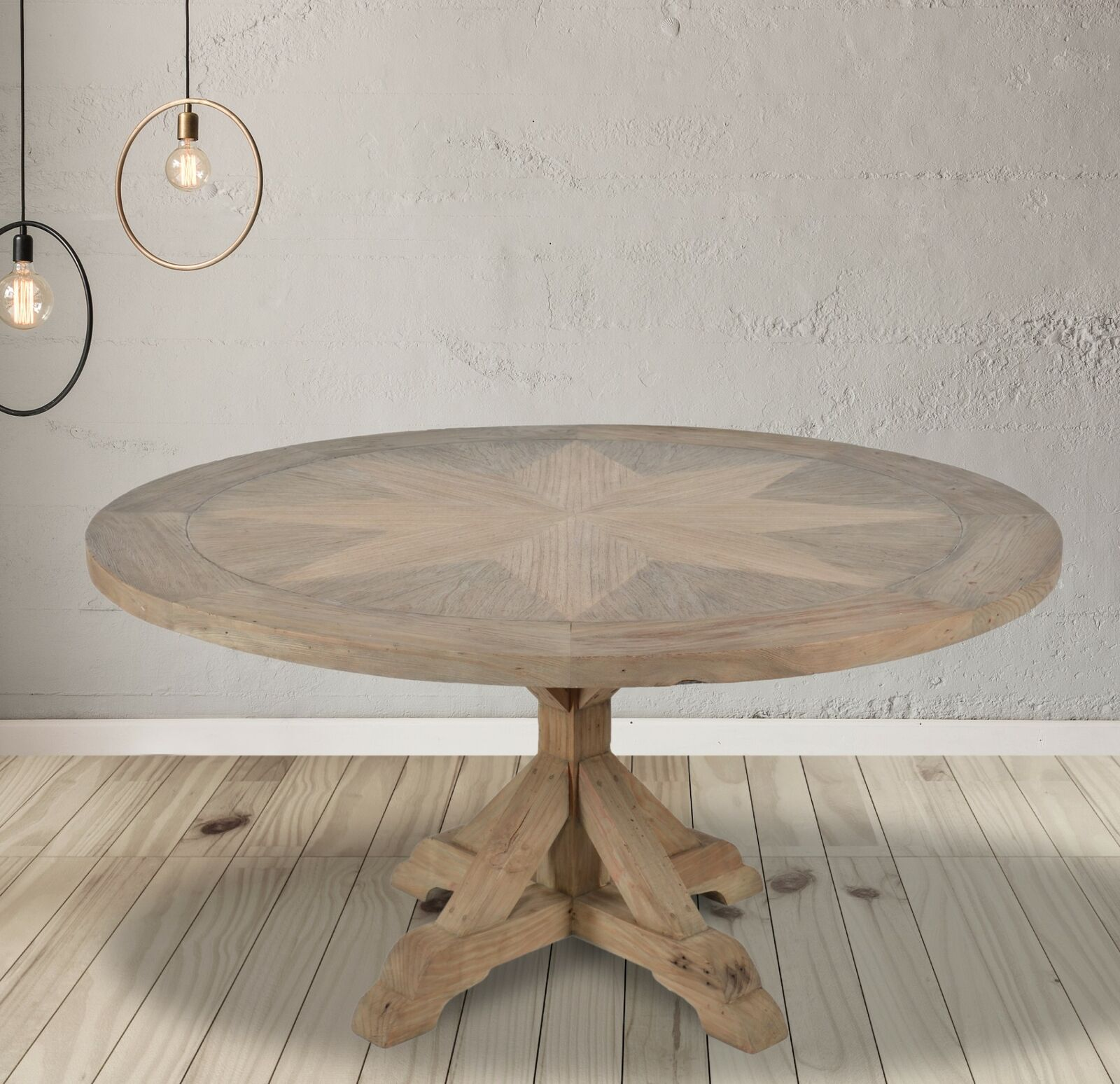 Picture of: Farmhouse Dining Table Round French Country Pedestal Rustic Kitchen Nook White For Sale Online Ebay