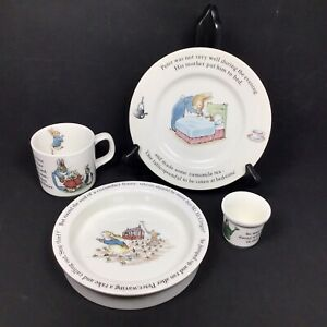 Peter-Rabbit-Nursery-Set-by-Wedgwood-Plate-Porringer-Mug-amp-Egg-Cup-4-Piece