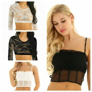 Mujer-sexy-encaje-ver-a-traves-de-Camiseta-sin-mangas-Chaleco-Blusa-Cami-Camisas-Blusa-Top-Corto
