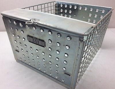 "Vintage wire locker metal basket bin with locker tags 12 x 13/"" Lyon storage"