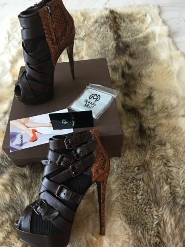 Buckles Python Mesh Uk 6 Nando Combined And Muzi Boots With Peep Ankle 39 Toe q8vOTq7w