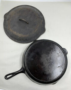 Vintage-Lodge-No-12-Cast-Iron-Skillet-w-3-Notch-Heat-Ring-and-Basting-Lid