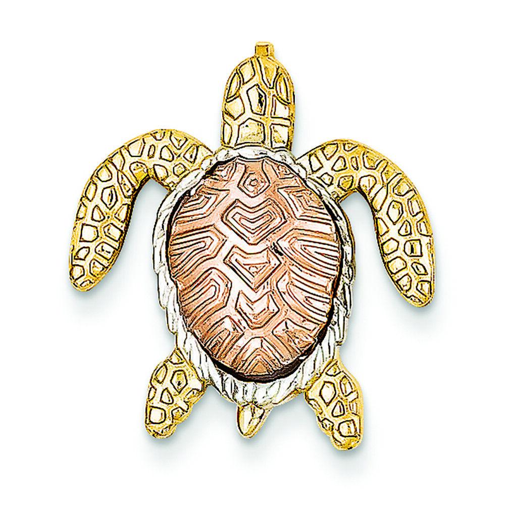 14K Tri-color gold Turtle Charm Slide Pendant MSRP  262