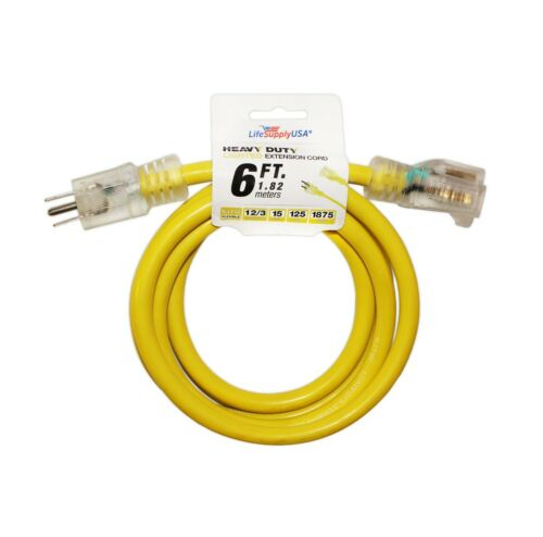 12//3 300V SJTW LIGHTED Extension Cord 15 AMP THICK Size 6 10 25 50 75 100 200 ft