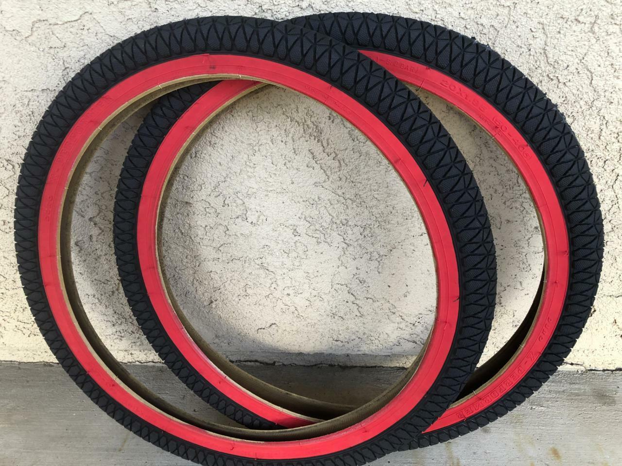 2 TIRES 20X1.95 BMX FREESTYLE BICYCLE DURO BIKE TIRE - RED WALL