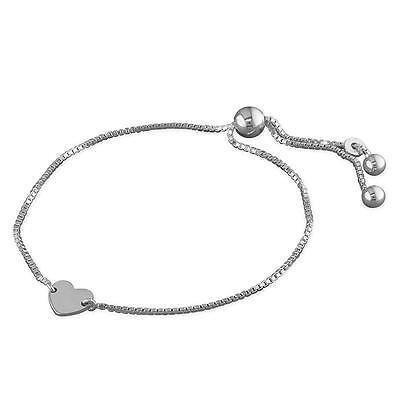 Beautiful Sterling silver 925 sterling Heart Chain Slide