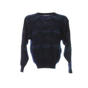 Strickpullover-Gr-M-Vintage-Sweater-Streifen-Mehrfarbig-Italy