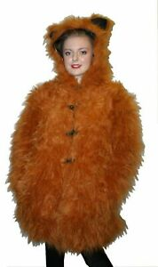 clear and distinctive size 7 discount sale Details about FLUFFY TEDDY BEAR FAUX FUR JACKET COATS BROWN LONG JACKETS  FESTIVE RAVE CYBER