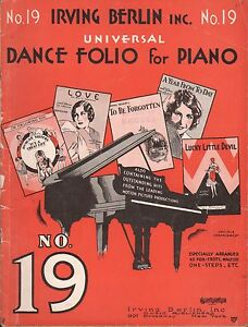 Details about IRVING BERLIN DANCE FOLIO NO  19 jazz, fox trots PIANO SOLOS  and ukulele 1930