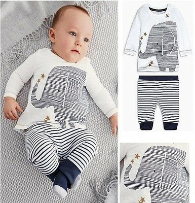 Baby Toddler Boys Lovely Elephant Tops Striped Pants Outfits 2PCS Set Clothes