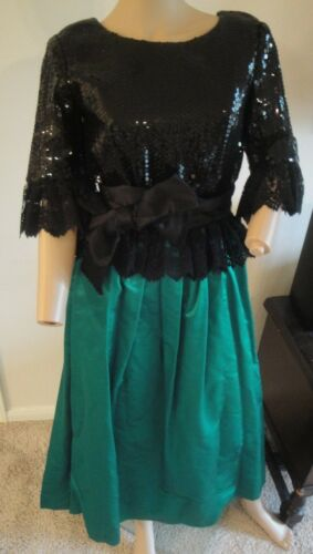 VTG 60's William Pearson Green Black Sequin Croche