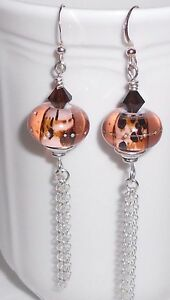 RAWWWR-Brown-Black-Lampwork-Crystal-Sterling-Silver-Chain-Dangle-Earrings