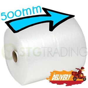 1 SMALL BUBBLE WRAP ROLL 500mm WIDE x 75 METRES LONG PACKAGING CUSHIONING - NEW 3303097724468