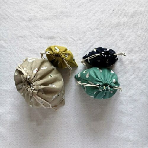 3pcs SML Drawstring Cotton Linen Gift Bag Sorted Pouch Rice Ball YM01 S