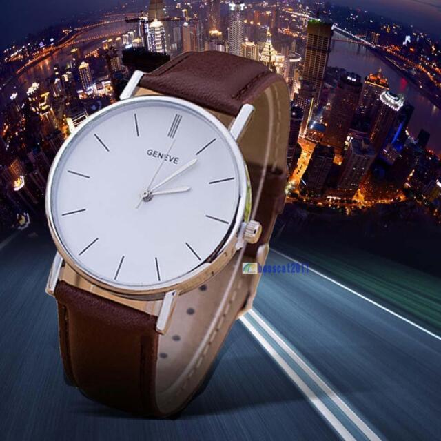 Men Women Fashion Leather Band Analog Stainless Steel Quartz Wrist Watches #A #8